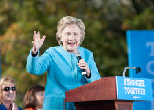 Hillary Clinton speaks in Manchester, New Hampshire, October 24, 2016. Democratic presidential nominee Hillary Clinton speaks at St. Anselm College in royalty free stock image