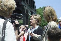 Hillary Clinton speaks to the press. Chappaqua, NY-May 28: Senator Hillary Clinton (D-NY) speaks at an impromptu press conference after marching in her hometown stock image
