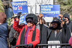 Hillary Clinton Supporters - MLKDAY Rally. January 18, 2015 - Columbia S.C: Hillary Clinton(D) supporters hold up their signs at the MLK Day Democratic stock photography