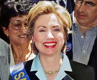 Hillary Clinton. Then First Lady and New York senatorial candidate, Hillary Clinton, marches up Fifth Avenue in New York City at the Salute to Israel Parade on stock photos