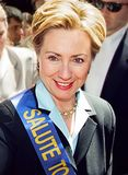 Hillary Clinton. Then First Lady and New York senatorial candidate Hillary Clinton marches up Manhattan`s Fifth Avenue at the Salute to Israel Parade on June 4 royalty free stock photography