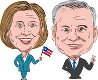Hillary Clinton and Tim Kaine Election 2016. Caricature illustration of Democratic Party candidates Hillary Clinton and Tim Kaine for the US Elections 2016 on Stock Image