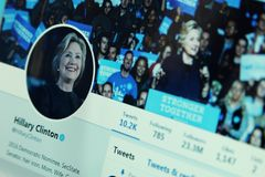 Hillary Clinton twitter account. Official account of American politician Hillary Clinton on social media network twitter royalty free stock photography