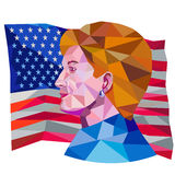 Hillary Clinton US Flag Low Polygon. Illustration showing Democratic Party presidential candidate for president 2016 Hillary Clinton side view with USA stars and Stock Photo