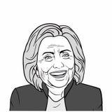 Hillary Clinton Vector Art, Schwarzweiss, Vektor-Design-Illustration Stockbilder
