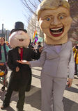 Hillary Holds Out Hand to Mr. Moneybags in the Mardi Gras Parade Stock Images