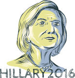 Hillary 2016 President Drawing. Drawing sketch style illustration showing Democrat presidential candidate Hillary Clinton with words Hillary 2016 on isolated Royalty Free Stock Photography