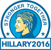 Hillary for President 2016. Illustration showing Democratic Party presidential candidate for president 2016 Hillary Clinton side view set inside circle with Stock Photos
