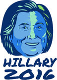 Hillary President 2016 Retro. Illustration showing Democrat presidential candidate Hillary Clinton with words Hillary 2016 done in retro style Stock Photography