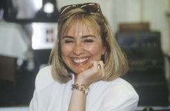 Hillary Rodham Clinton at Dee's Restaurant. During the Clinton/Gore 1992 Buscapade campaign tour in Corsicana, Texas stock photography