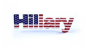 Hillary tecken med amerikanska flaggan Arkivbilder