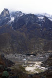 Hillary trust school. The view of Khumjung, 3.800 mt, with the Hillary Trust school in the first floor stock images