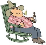 Hillbilly In A Chair. This illustration depicts a man sitting in a rocking chair and holding a bottle of beer Royalty Free Stock Photography