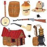 Hillbilly clipart icons and elements stock illustration