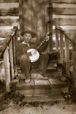 Hillbilly d'annata, agricoltore del Sud, giocatore del banjo Immagine Stock Libera da Diritti