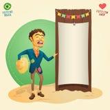 Hillbilly feliz do partido de junho do brasileiro que guarda o varrão temático vazio Imagens de Stock Royalty Free