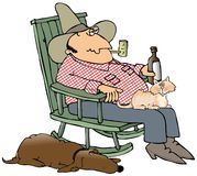 Hillbilly And Pets royalty free illustration