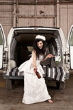 Hillbilly Wedding. Hillbilly bride with a beer Royalty Free Stock Photo