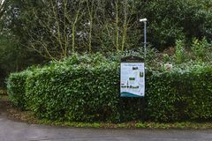 Hillingdon trail billboard. London, UK, March 17 2018: Descriptive billboard of Hillingdon trail in Uxbridge. The Hillingdon trail is a 20 mile path through Stock Photography