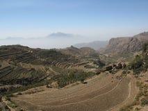 Hillls Terraced em Yemen fotografia de stock