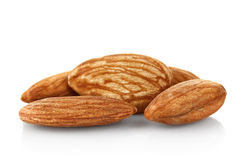 Hillock of almonds. On white background stock images