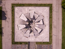 Hillock of Fraternity monument from above. Aerial view of the Hillock of Fraternity monument in Plovdiv, Bulgaria stock photos