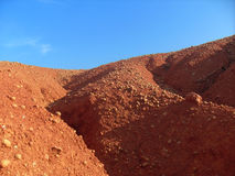 Hills in the abandoned bauxite quarry  Royalty Free Stock Photo