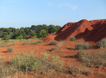 Hills in the abandoned bauxite quarry  Royalty Free Stock Images