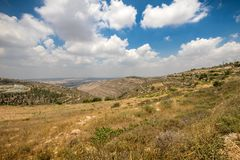Hills along Way of the Patriarchs. Israel. Hills along Way of the Patriarchs or Way of the Fathers. The name is used in biblical narratives that it was stock photography