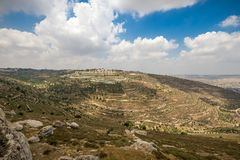 Hills along Way of the Patriarchs. Israel. Hills along Way of the Patriarchs or Way of the Fathers. The name is used in biblical narratives that it was stock image