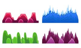 Free Hills And Mountains Set, Landscape Elements For Mobile Games Interface Vector Illustration Stock Image - 161046281