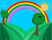 Hills And Rainbow, Brighten The Day! Royalty Free Stock Image