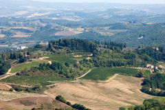 Hills around San Gimignano. Royalty Free Stock Images