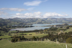 Hills and blue lake in New Zealand Stock Images