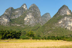 Hills in China in surroundings of the Yangshuo town Royalty Free Stock Photos