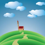 Hills with church. And sky with clouds Stock Photography