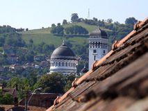 Hills and churchs towers in Sighisoara. This is the Holy Trinity Church in Sighisoara,Romania, from the pensions roof Royalty Free Stock Photography