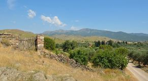 Hills close to Molyvos, Lesvos with stone wall gate and Olive trees. Hills and countryside close to Molyvos, Lesvos with stone wall gate and Olive trees royalty free stock image