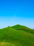 Hills covered with a green grass Royalty Free Stock Images