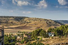 Hills with cultivated fields one summer day in the vicinity of the city of Siguenza. Guadalajara Spain.  stock image