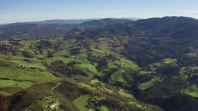 Hills of Emilia-Romagna on a sunny day, aerial view. Italy stock photo