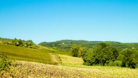 Hills, fields and meadows - typical views of Tuscany. Travel, nature and agriculture concept. Vacations in Italy royalty free stock photo