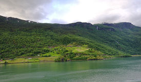 The Hills of the Flaam Fjord Stock Photos