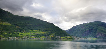 The Hills of the Flaam Fjord Stock Photography