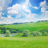 hills, forest and blue sky Stock Photography