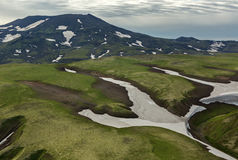 Hills with glaciers. South Kamchatka Nature Park. Stock Photo