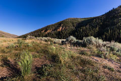 Hills with grass sagebrush and sky. This photo was taken near Currant Creek Reservoir and is of grass, sagebrush, mountains, and the hills Stock Images