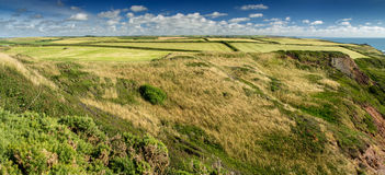 Hills and grasslands in the north-western tip of the Devon coast stock photo