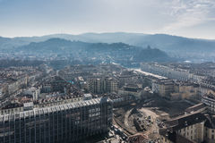 The hills and the historic center of Turin, Italy stock images