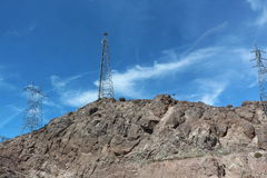 Hills at the hoover dam. This hills surround the hoover dam. The hills hold the power lines Royalty Free Stock Photo